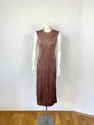 &other stories Midi-Kleid Gr. 36 (38) bronze braun Viskose Shirtdress Nähte Ärmellos schlicht