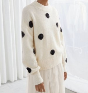 & other stories Oversize Alpaka Wolle Pullover Clean Chic Cosy Blogger Polka Dot Punkte