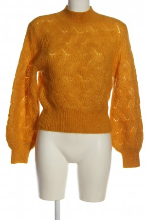 & other stories Turtleneck Sweater light orange cable stitch casual look