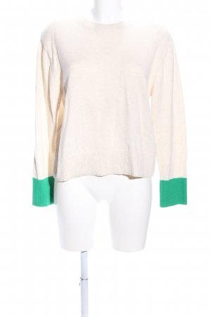 & other stories Rundhalspullover creme-grün Casual-Look