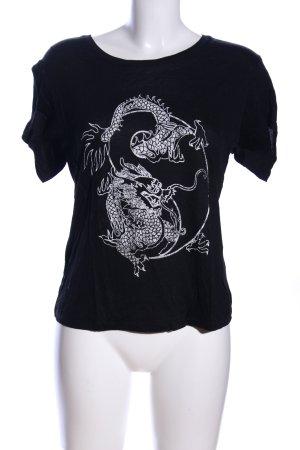 & other stories T-Shirt schwarz-weiß Motivdruck Casual-Look