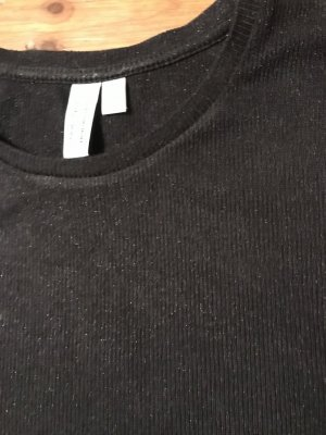 & other stories Ribbed Shirt black-silver-colored viscose