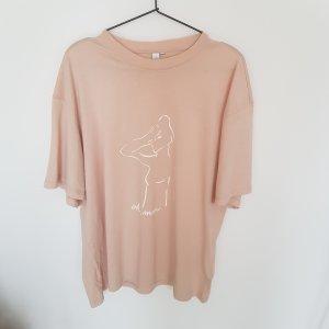 &other stories T-Shirt Nude/Rose Line Art Print L/42 oversize LA Atelier