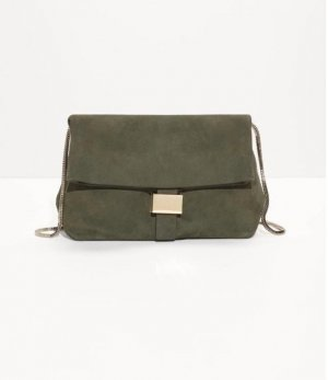 &other stories • Tasche Crossbody Fold-Over aus Leder dunkelgrün/khaki + gold