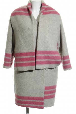 & other stories Wollmantel hellgrau-pink Streifenmuster Casual-Look