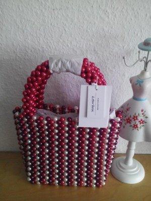 & other stories wunderschöne kleine Henkeltasche in rot-weiß-pink Schmuckperlen, neu