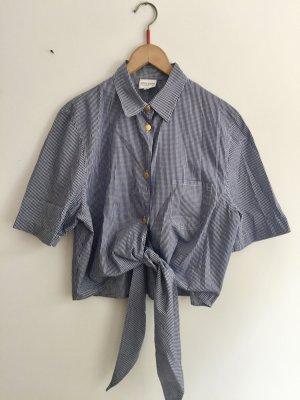 Otto Kern Short Sleeved Blouse white-blue cotton