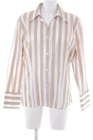 Otto Kern Langarm-Bluse beige-weiß Streifenmuster Elegant