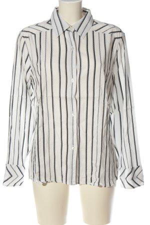 Otto Kern Langarmhemd weiß-schwarz Streifenmuster Casual-Look