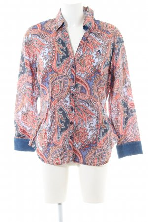 Otto Kern Long Sleeve Shirt blue-red abstract pattern casual look