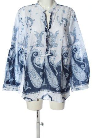 Otto Kern Camicia a maniche lunghe bianco-blu stampa integrale stile casual