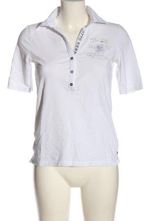 Otto Kern Polo-Shirt weiß Schriftzug gedruckt Casual-Look
