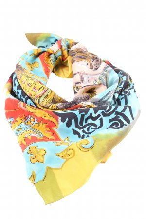 Otto Kern Silk Scarf blue-primrose allover print business style