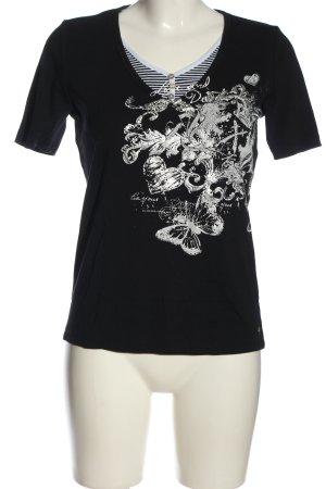 Otto Kern V-Ausschnitt-Shirt schwarz Motivdruck Casual-Look