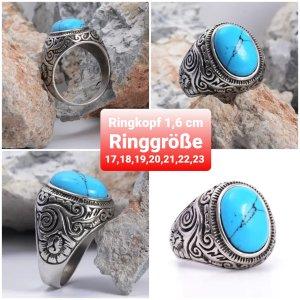 Ottoman Ring mit Synth Türkis aus Chirurgenstahl