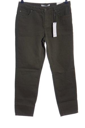 Oui 7/8-Hose khaki-schwarz Streifenmuster Casual-Look