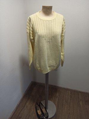Oui 90s Vintage Pullover Baumwolle zitronengelb Gr. M L