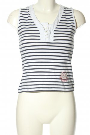 Oui Basic topje wit-blauw gestreept patroon casual uitstraling