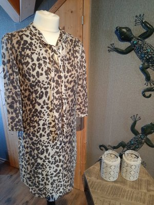 OUI - Animalprint-Hemdblusenkleid mit Schluppe und Knopfleiste