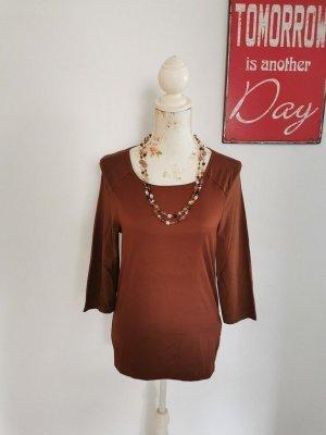 Oui Black Label Damen 3/4 Arm Shirt Basic Oberteil Mikro Polyester braun Größe 40