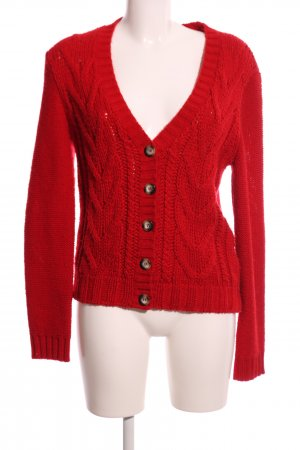 oui BLACK LABEL Strickjacke rot Zopfmuster Casual-Look