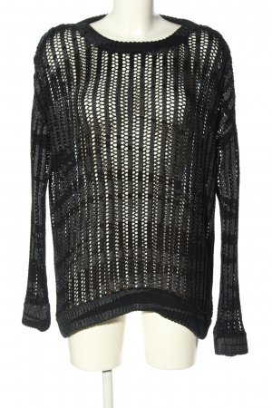 Oui Coarse Knitted Sweater black-light grey color gradient casual look