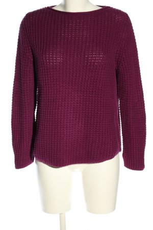 Oui Coarse Knitted Sweater lilac cable stitch casual look
