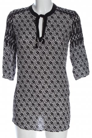 Oui Hemd-Bluse weiß-schwarz grafisches Muster Casual-Look