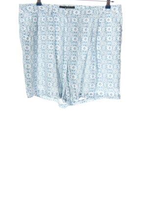 Oui High-Waist-Shorts blau-weiß Allover-Druck Casual-Look