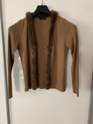 oui collection Wełniany sweter jasnobrązowy Wełna