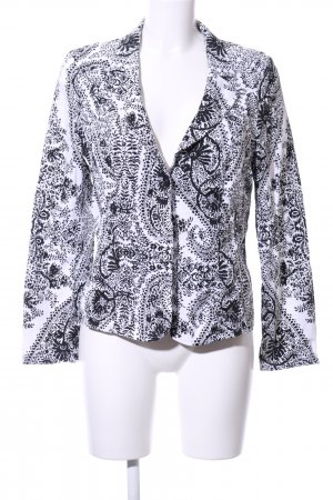 Oui Jerseyblazer weiß-schwarz abstraktes Muster Casual-Look