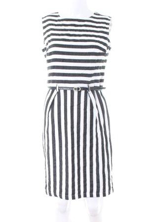 Oui Jerseykleid weiß-schwarz Streifenmuster Business-Look