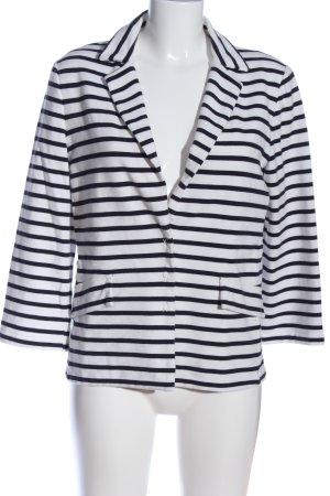 Oui Kurz-Blazer weiß-schwarz Streifenmuster Casual-Look