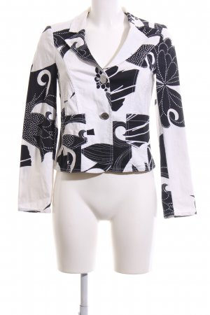 Oui Kurz-Blazer weiß-schwarz abstraktes Muster Casual-Look