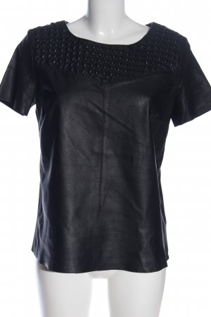 Oui Kurzarm-Bluse schwarz Casual-Look
