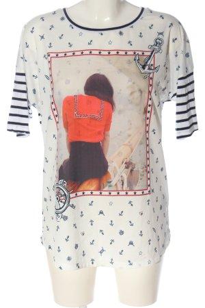 Oui T-Shirt Motivdruck Casual-Look