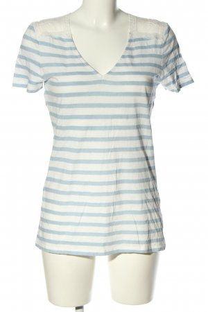 Oui Leinenbluse weiß-blau Streifenmuster Casual-Look