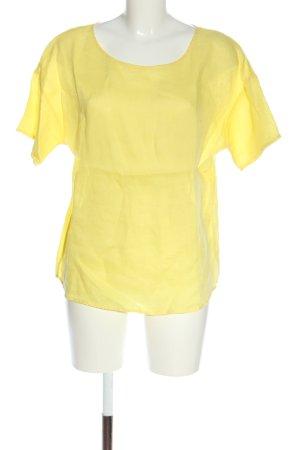 Oui Blusa in lino giallo pallido stile casual