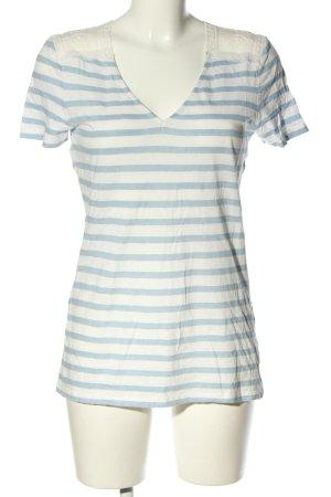 Oui Lniana bluzka biały-niebieski Wzór w paski W stylu casual