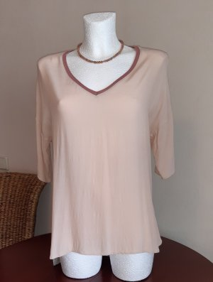 Oui Camisa larga gris claro-rosa empolvado