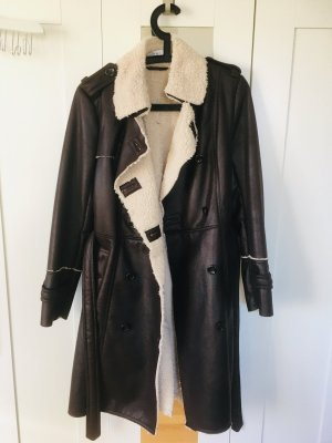 Oui Winter Coat natural white-black brown polyester