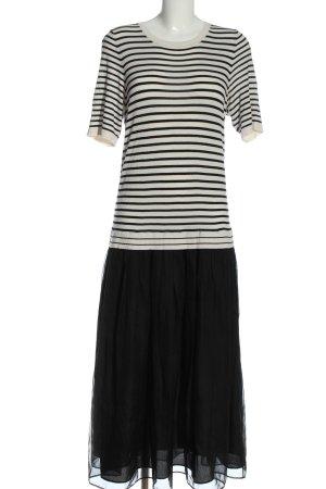 Oui Maxi abito bianco-nero motivo a righe stile casual