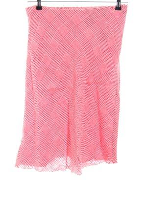 Oui Midirock pink-weiß Karomuster Casual-Look