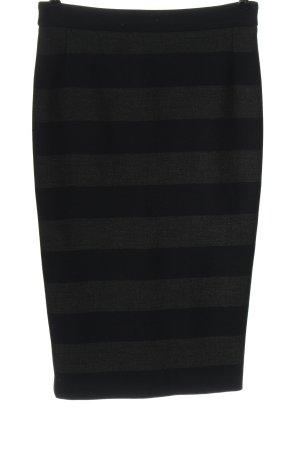 Oui Jupe mi-longue noir-gris clair motif rayé style d'affaires