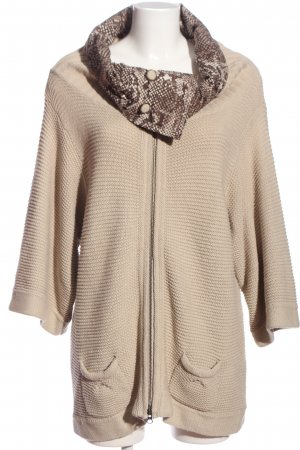 oui Moments Cardigan natural white-brown leopard pattern casual look