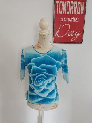 Oui Moments Damen Shirt Chiffon Netzshirt blau Blumen Größe S