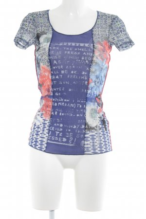 oui Moments Kurzarm-Bluse dunkelblau-hellrot florales Muster Casual-Look
