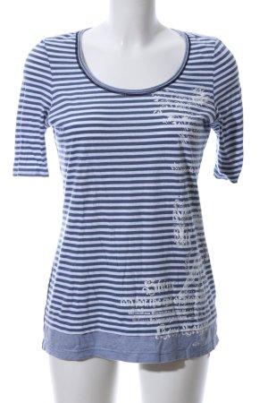 oui Moments T-Shirt blau-weiß Motivdruck Glanz-Optik