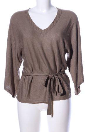 oui Moments V-Ausschnitt-Pullover braun Business-Look