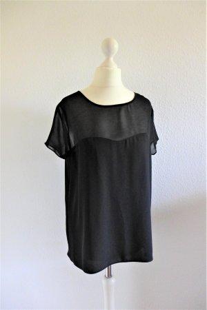 Oui Oberteil Bluse Shirt Top schwarz transparent Kurzarm Gr. 36 (38) S neu